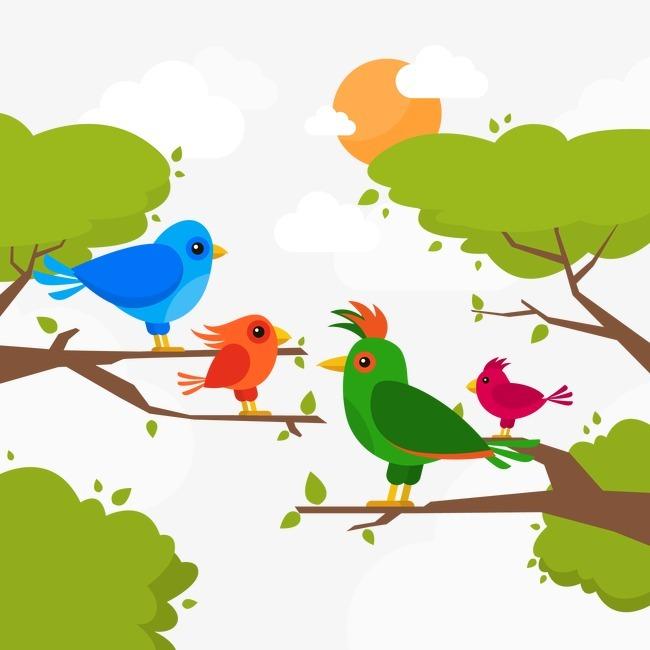 手绘热带鸟类矢量背景图