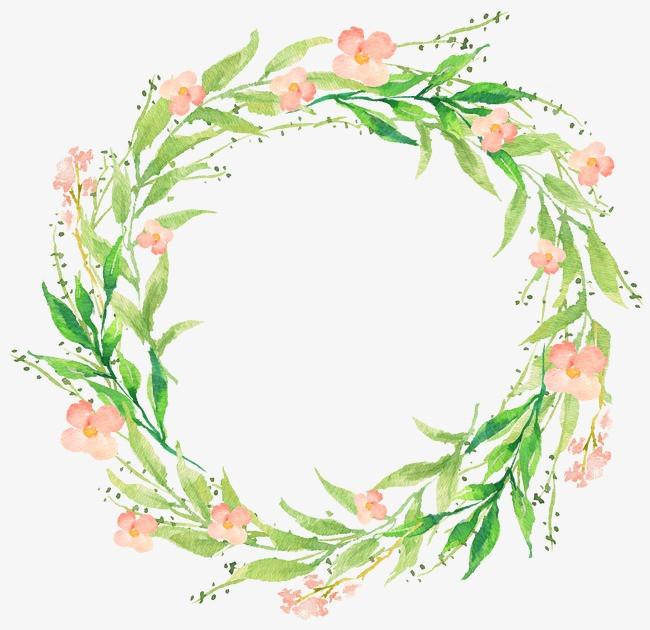 水彩圆形花环13