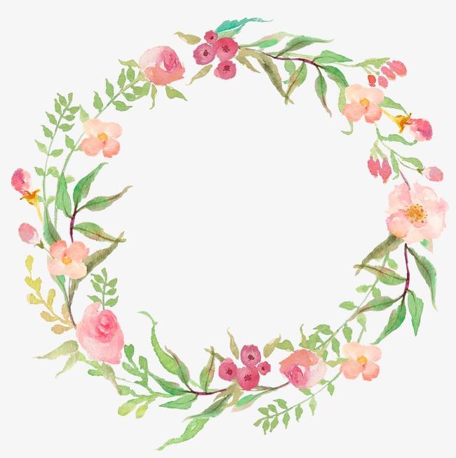 水彩圆形花环18