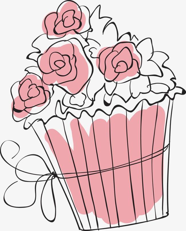 创意蛋糕简笔画矢量图