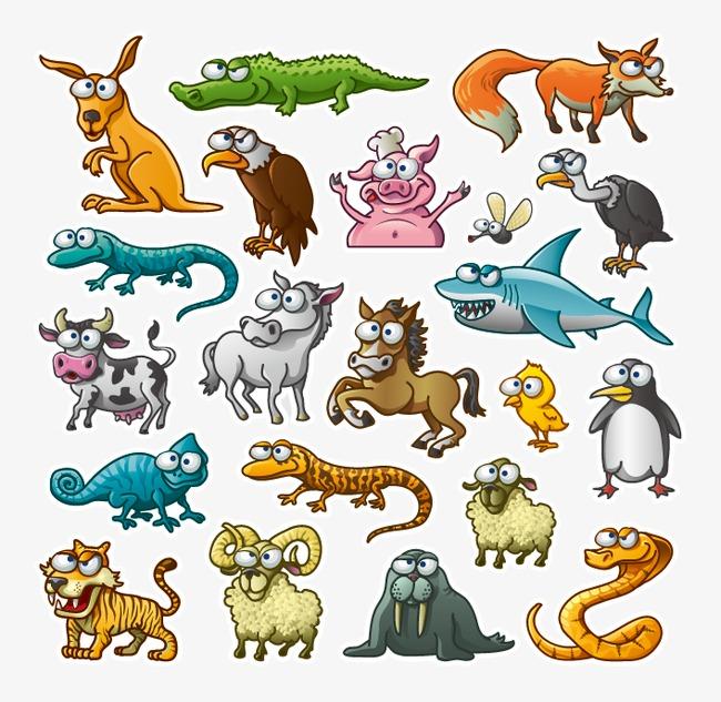 卡通动物贴纸素材png素材-90设计