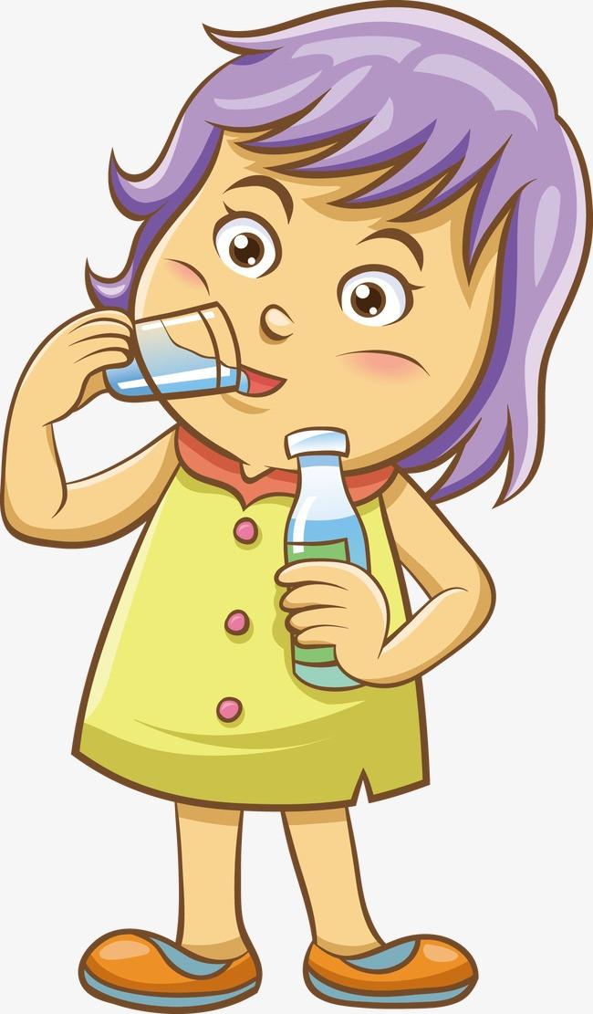 喝水的小女生矢量图图片