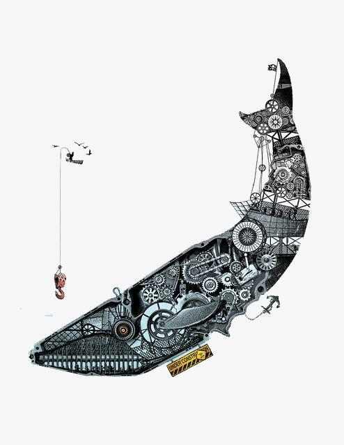 手绘鲸鱼 机械鲸鱼 创意鲸鱼插画手绘鲸鱼 机械鲸鱼 创意鲸鱼插画png