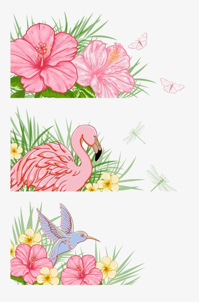 手绘花画鹤草草丛牡丹花倾听水彩画蝴蝶