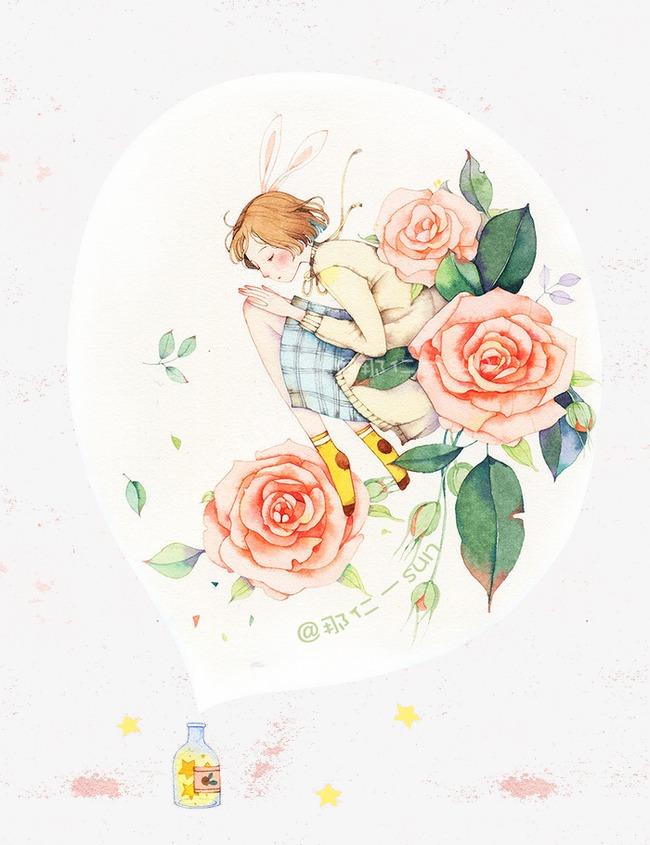 图片 > 【png】 小清新少女手绘插画  分类:手绘动漫 类目:其他 格式