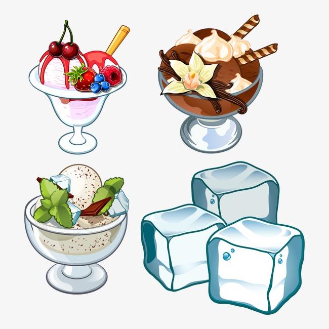 卡通冰淇淋与冰块