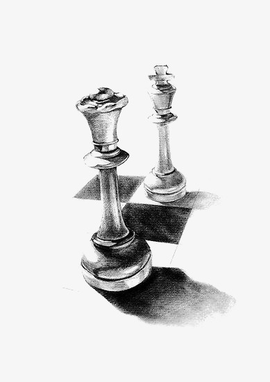 手绘素描国际象棋