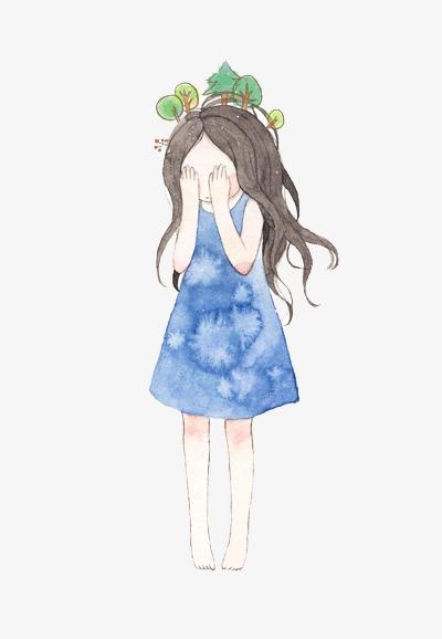 少女系唯美手绘插画插画手绘水彩女生青春女孩少女-少女系唯美手绘