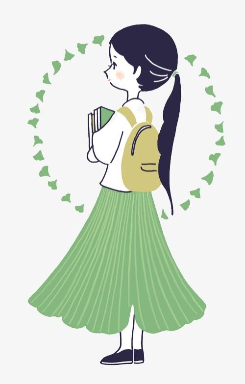 少女系唯美手绘插画插画手绘水彩女生青春女孩少女书包上学好学生手