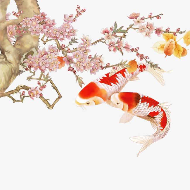 锦鲤 金鱼 花枝 鲤鱼             此素材是90设计网官方设计出品,均