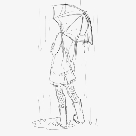 手绘雨伞女孩