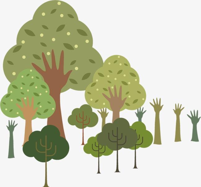 矢量手绘小树