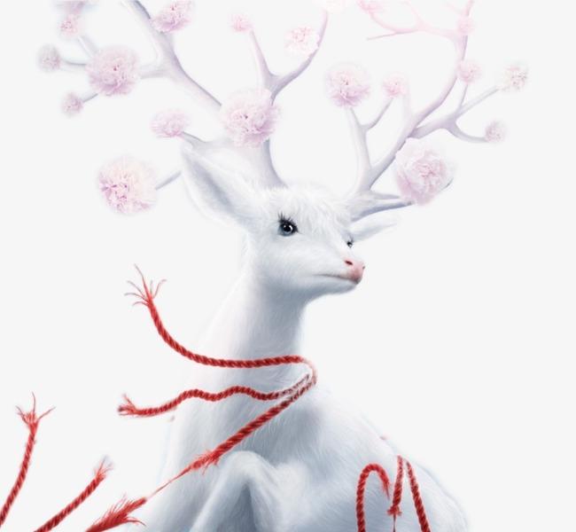 卡通手绘梦幻白色麋鹿【高清png素材】-90设计