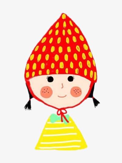草莓 卡通女孩 插画             此素材是90设计网官方设计出品,均图片