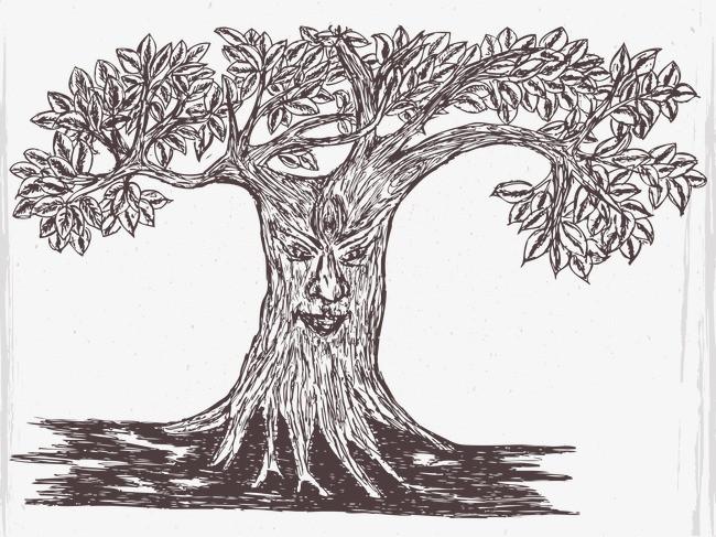 手绘素描树木上的脸