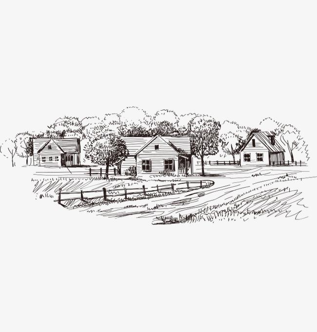 手绘线条农庄