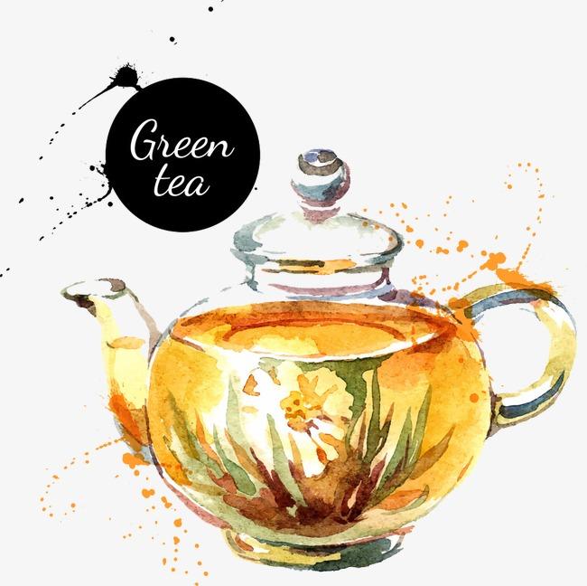 手绘一壶绿茶
