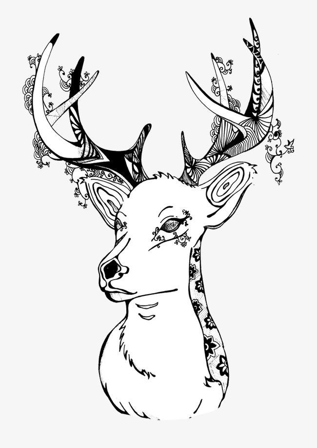 手绘梅花鹿
