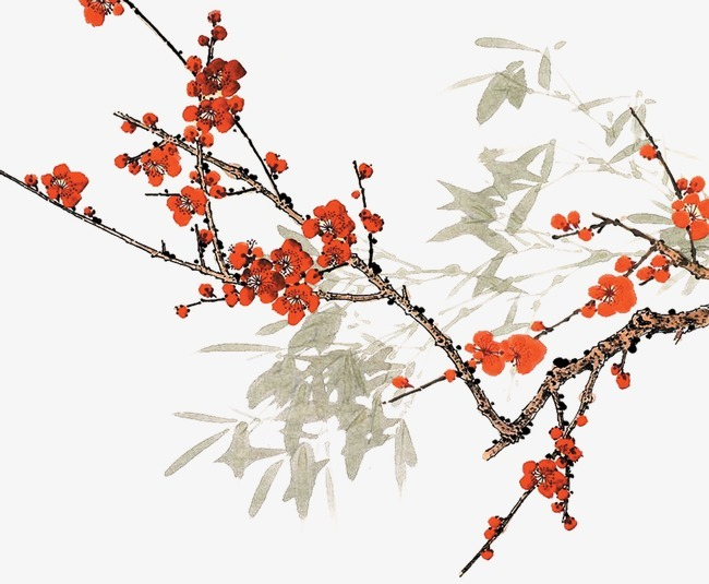 梅花 竹子 水墨 中国风 素描 水彩             此素材是90设计网