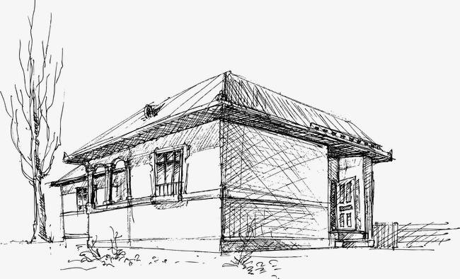 房子素描手绘图片卡通