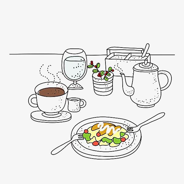 食物 咖啡杯 植物 饮料 插画             此素材是90设计网官方设计