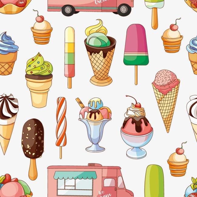 彩色冰淇淋雪糕等甜品矢量素材
