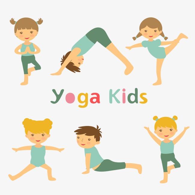 做瑜伽的卡通小人