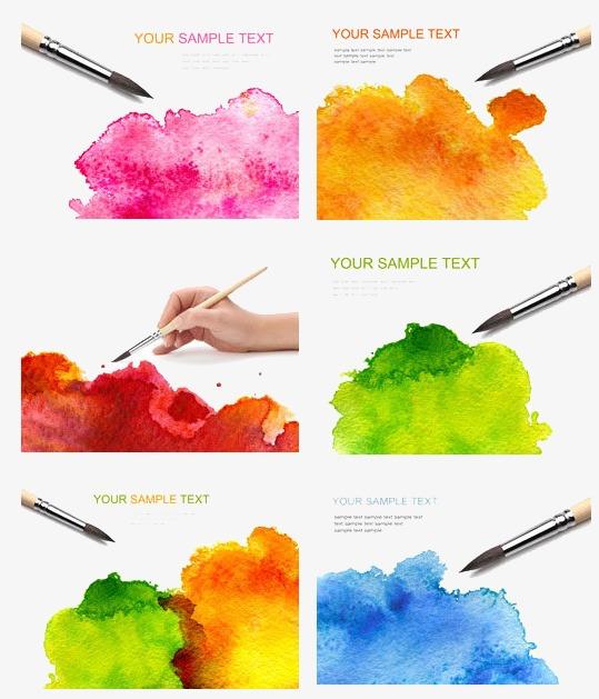 多彩手绘水彩颜料图素材图片免费下载 高清装饰图案psd 千库网 图片编号3813811