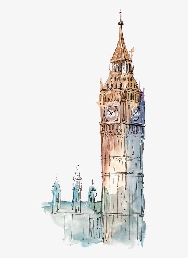 城市建筑手绘 英国大本钟 著名城市             此素材是90设计网
