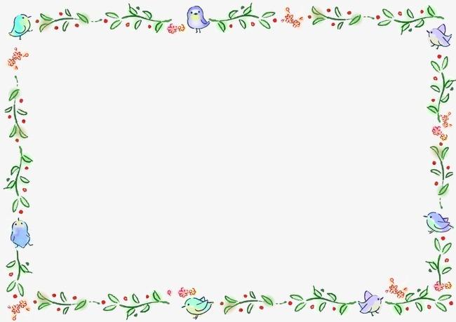 边框绿叶相框小鸟装饰可爱母婴