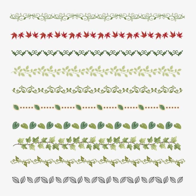 手绘分割线绿色png素材-90设计