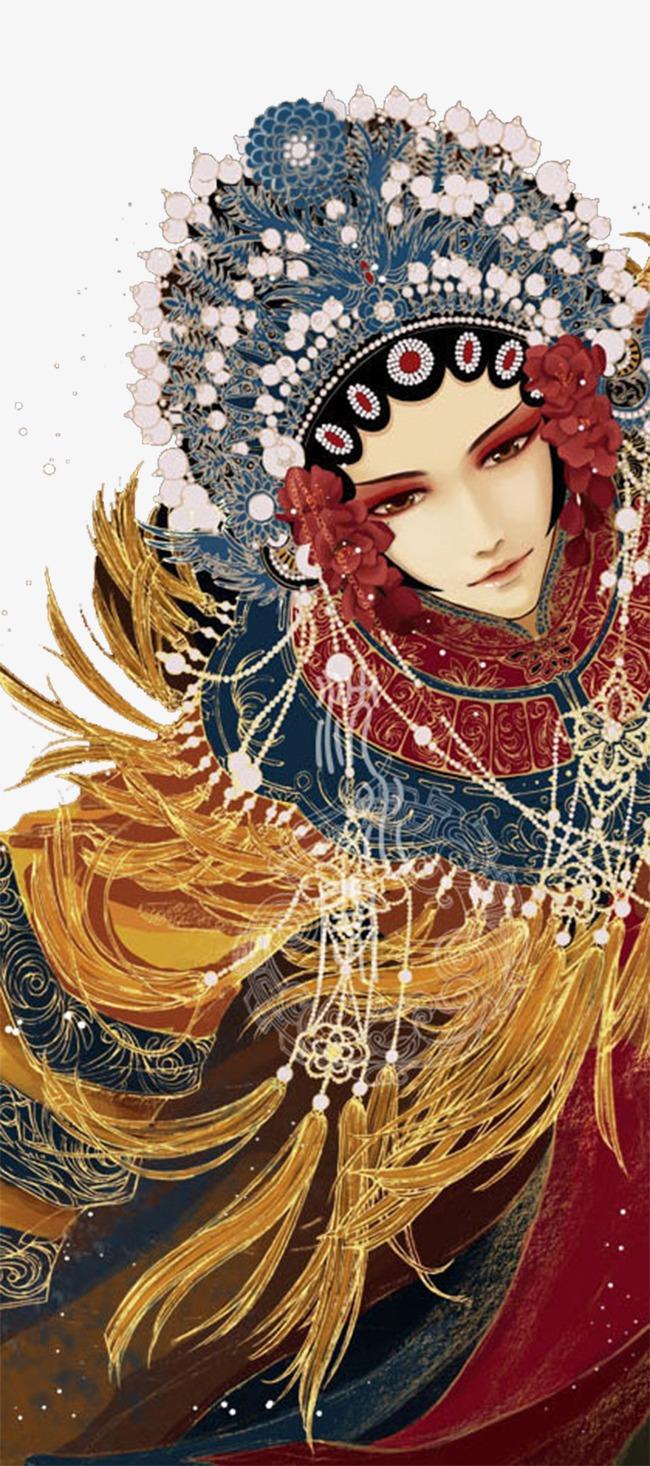 手绘中国风戏子