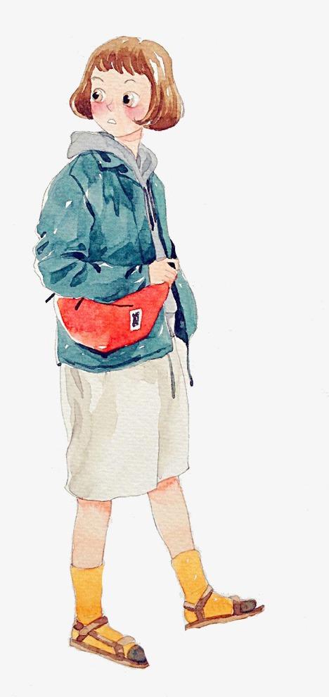 水彩手绘短发女孩