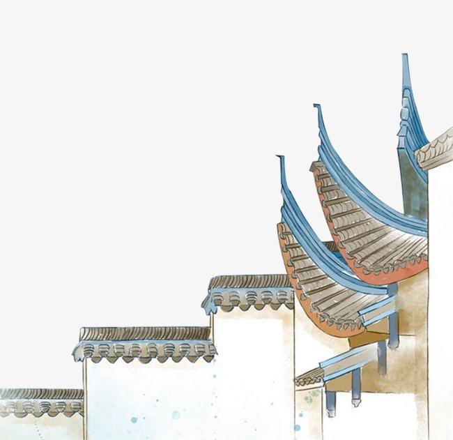 古风手绘古代屋檐插画