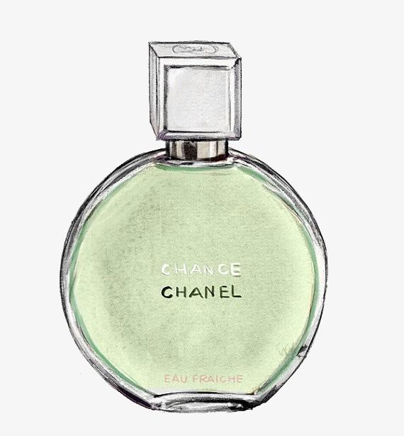 手绘质感香奈儿香水瓶【高清png素材】-90设计