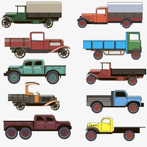 卡通手绘彩色货车卡车