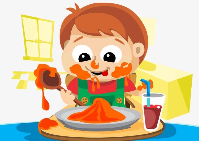 矢量小孩吃东西