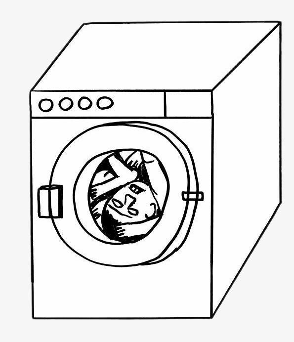 创意插画 洗衣机 卡通手绘             此素材是90设计网官方设计出