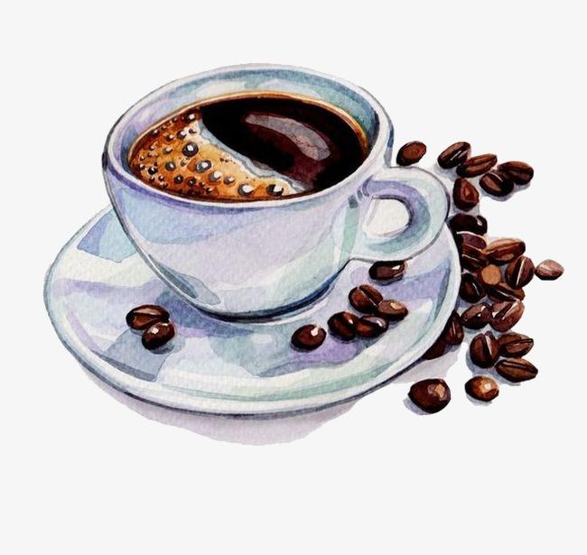 手绘水彩咖啡和咖啡豆