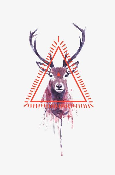 彩铅手绘星空鹿头