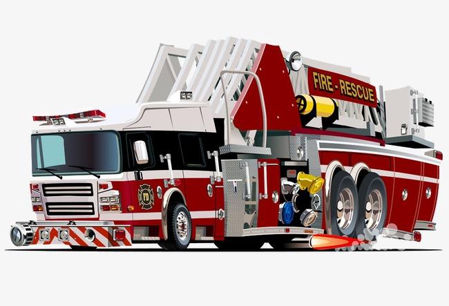 卡通手绘矢量卡通消防车