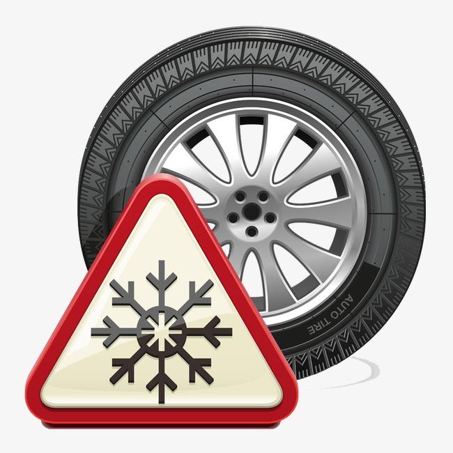 卡通手绘雪花与轮胎