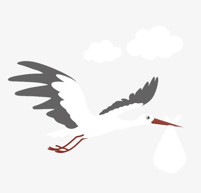 卡通飞翔的送子鹤矢量
