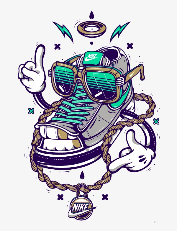 嘻哈耐克球鞋  按 + 收藏千库网                    节省您50%的设计图片