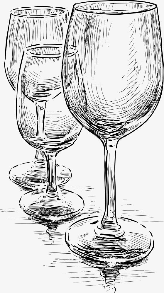 矢量手绘酒杯图片