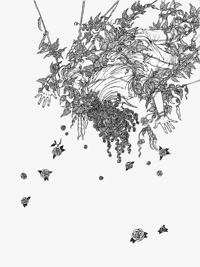 素描抽象插画图案抽象图案插画插图设计-素描抽象插画图案素材图片