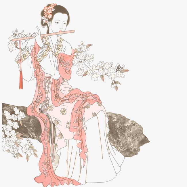 彩色古典吹笛女子手绘