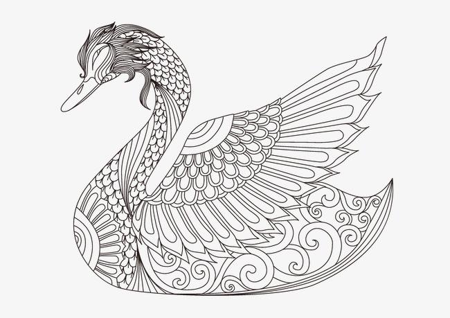 卡通线性花纹动物绘画