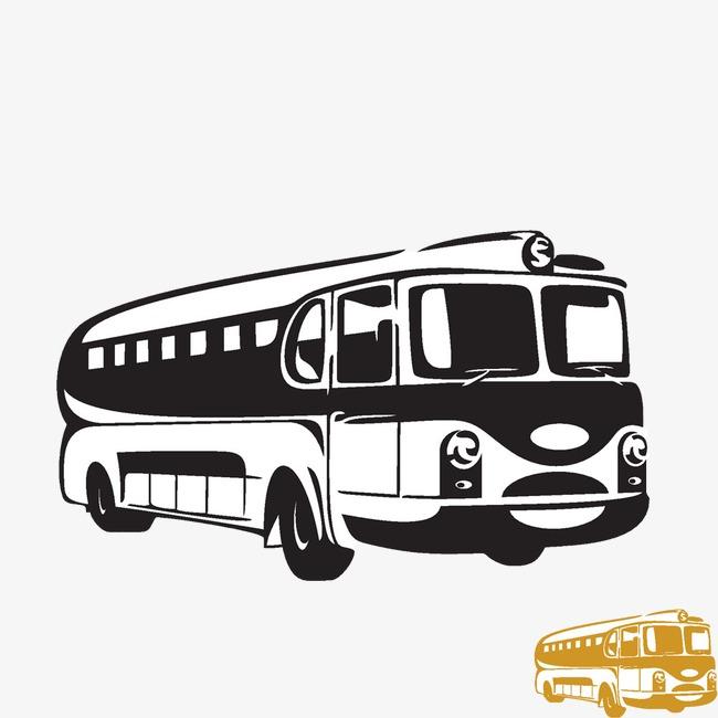 卡通手绘老式公交车图案