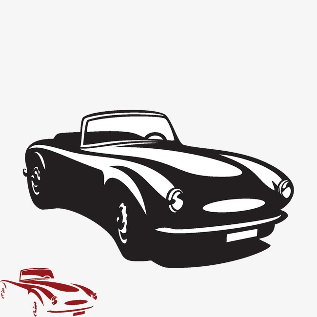 卡通手绘老式汽车
